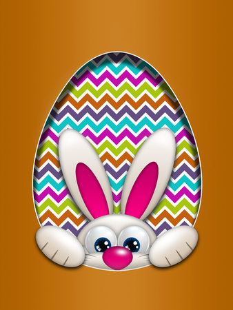 hollow: easter bunny in egg hollow with place for text