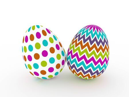 laying egg: two colorful Easter eggs over white background