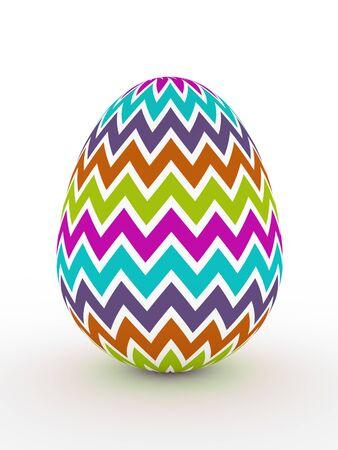 christian festival: 3d colorful Easter egg lying on white floor