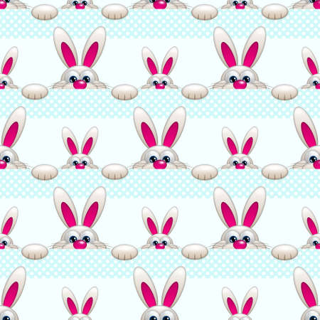 ove: seamless pattern with Easter bunny ove light blue background Stock Photo