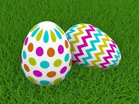 lying: 3d Easter eggs lying on green grass Stock Photo