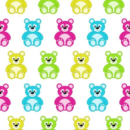 baby cute: seamless pattern with colorful teddy bears over white