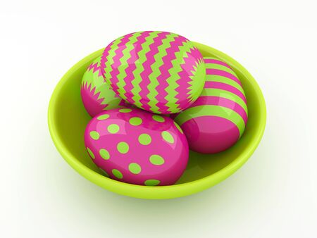 lying in: 3d Easter eggs lying in green spring bowl Stock Photo