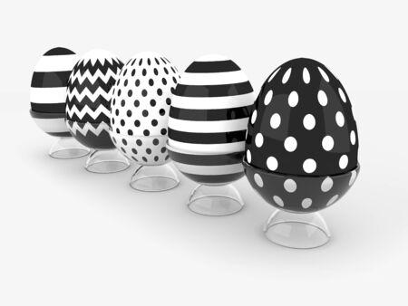huevo blanco: fila de los huevos de Pascua 3D con lugar para el texto