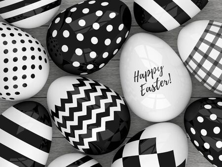 laying egg: 3d Easter eggs with black and white patterns lying on wooden desk