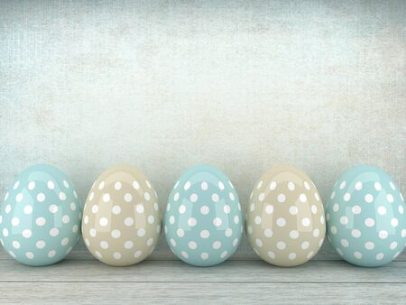 festive occasions: 3d Easter glossy eggs  lying on rustic table with place for text