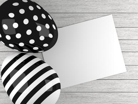 pasqua cristiana: in bianco e nero uova di Pasqua che si trovano sulla scrivania di legno con il bastone della nota vuota Archivio Fotografico
