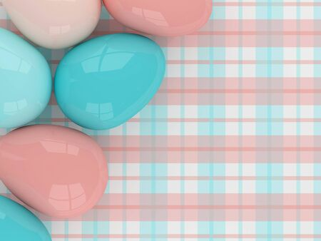 lying: pastel Easter eggs lying on plaid pattern with place for text