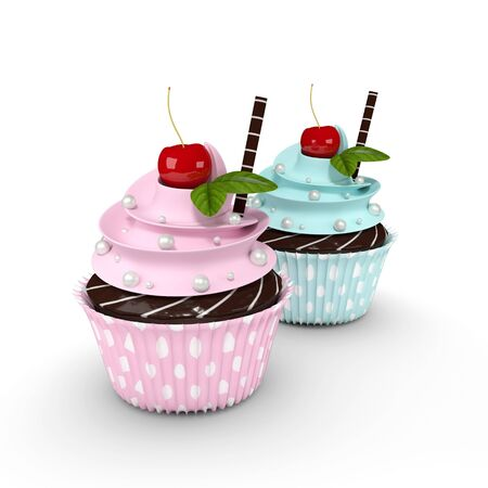 cupcakes isolated: two 3d cupcakes with pearl sweets and cherry isolated on white background Stock Photo