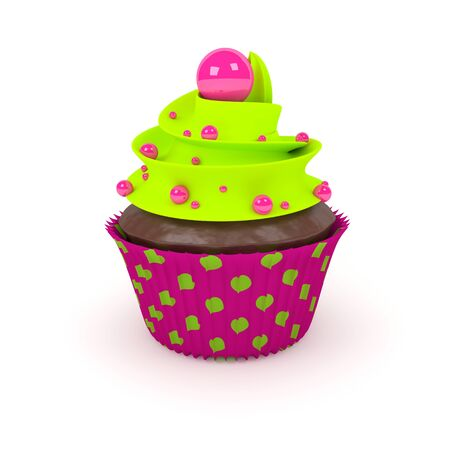 fruit cake: 3d sweet cupcake with pearl sweets on a light background