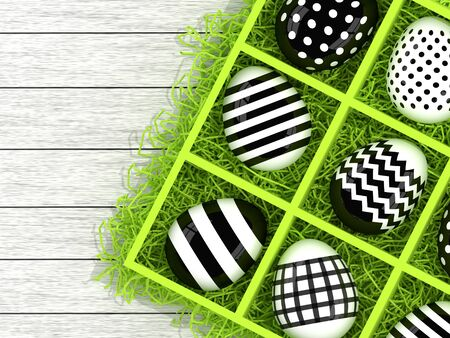 hay: 3d Easter eggs in a wooden box with hay