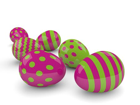 festive occasions: three 3d easter eggs isolated on white background Stock Photo