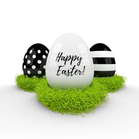 hay: 3d easter eggs in hay nest over white background