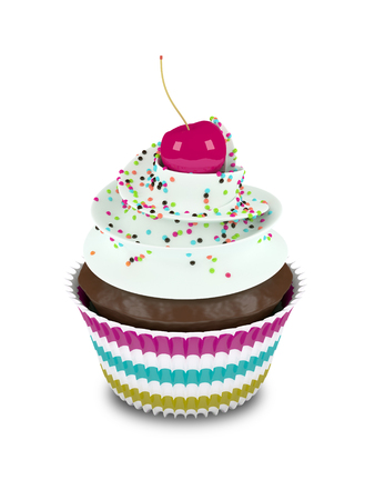 sprinkles: 3d sweet cupcake with sprinkles isolated on white background