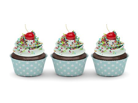 cupcakes isolated: 3d sweet cupcakes with sprinkles isolated on white background