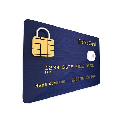 international bank account number: 3d dark blue debit card isolated over white background Stock Photo