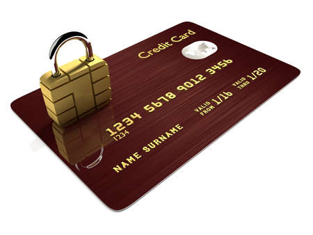 international bank account number: 3d credit card with sim padlock isolated over white background
