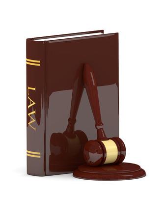 juridische hamer met recht boek geïsoleerd op een witte achtergrond
