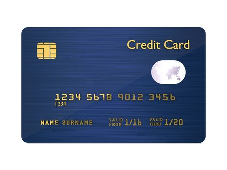blue card: 3d dark blue credit card isolated over white background