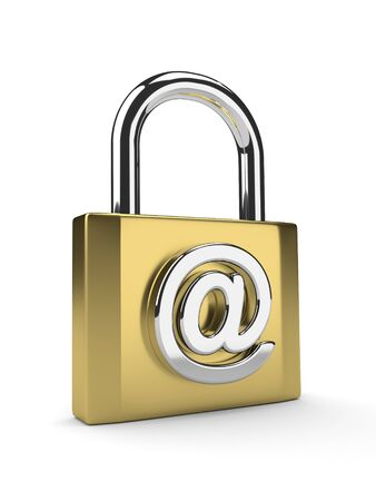 encrypted: 3d gold padlock with email sign isolated on white background