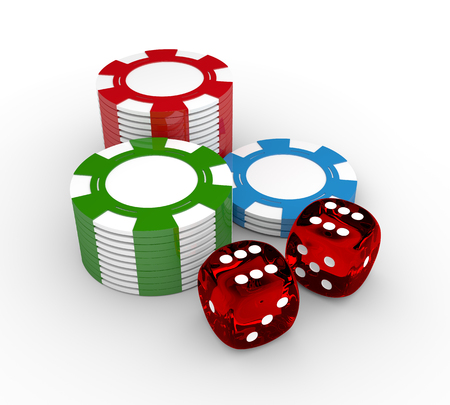 wagers: 3d game dices and gambling chips lying on white desk Stock Photo
