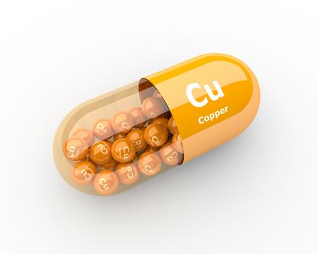 Píldoras 3d con suplementos dietéticos de cobre de elementos Cu