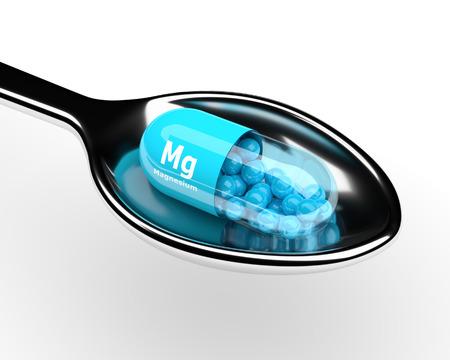 pastilla de magnesio 3d en una cuchara sobre fondo blanco