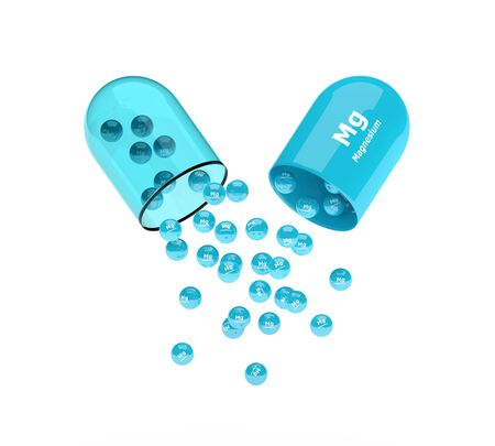 magnesium: 3d magnesium capsule with granules isolated over white background