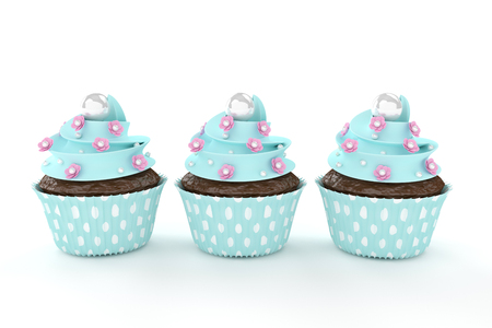 cupcakes isolated: three sweet cupcakes with flowers and pearls isolated on white background Stock Photo
