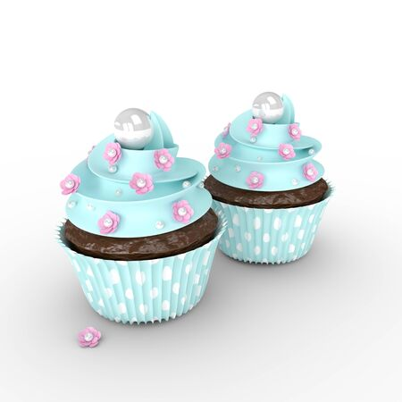 cupcakes isolated: 3d sweet cupcakes with flowers and pearls isolated on white background