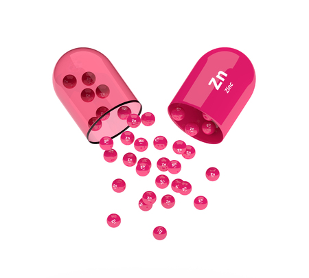 granules: 3d zinc capsule with granules isolated over white background