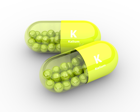 granules: 3d kalium pill with granules lying on table