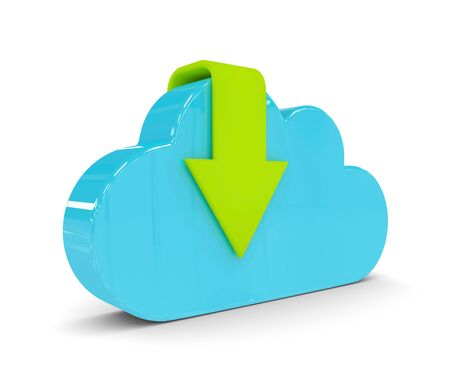 torrent: 3d cloud with download arrow isolated over white backgorund Stock Photo