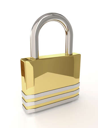 inaccessible: 3D padlock isolated over white background