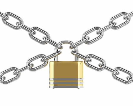 3D padlock with chain isolated over white background Stock Photo