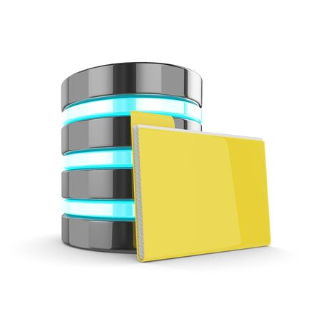 3d database and folder with documents isolated on white background. Data storage concept Stock Photo