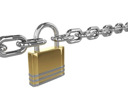 inaccessible: 3D padlock with chain isolated over white background Stock Photo