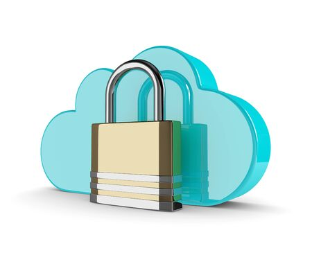 harddrive: 3d cloud with closed padlock isolated on white background. Data storage security concept.