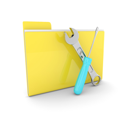 3d folder with wrench and screwdriver isolated on white background. Computer service concept. Stock Photo