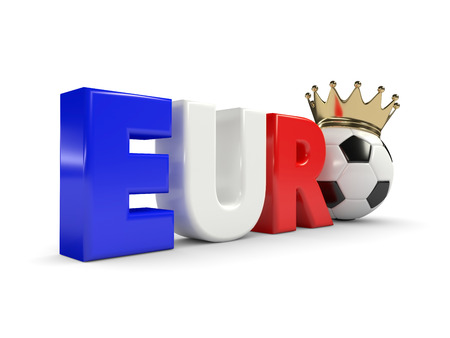 finalist: 3d rendered euro word with soccer ball and crown isolated over white background