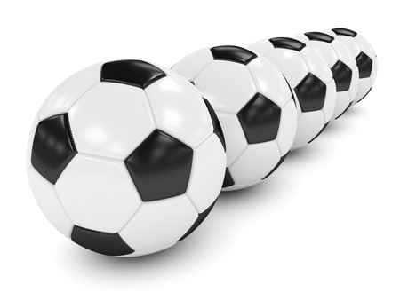 in a row: 3d rendered row of soccer balls isolated over white background