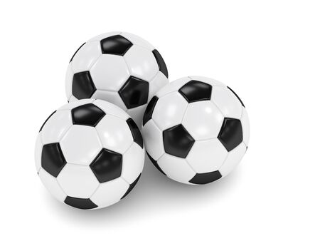 icosahedron: 3d rendered three soccer balls isolated over white background Stock Photo