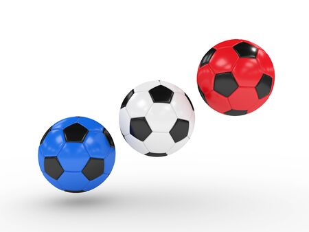 icosahedron: three 3d rendered football balls with colors of national flag of France
