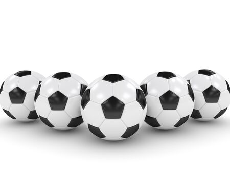inflated: 3d rendered soccer balls isolated over white background