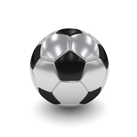 rendered: 3d rendered silver soccer ball isolated over white background
