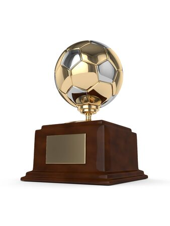 rendered: 3d rendered soccer ball trophy isolated on white background