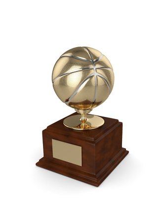 rendered: 3d rendered basketball trophy isolated on white background Stock Photo