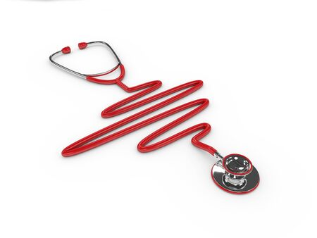 red stethoscope: 3d rendered red stethoscope isolated over white background Stock Photo