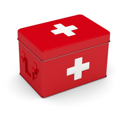 rendered: 3d rendered first aid kit isolated over white background