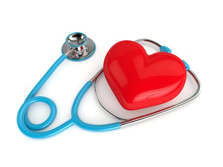 internist: 3d rendered heart with stethoscope isolated on white background